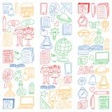 Insieme di vettore di nuovo alle icone della scuola nello stile di scarabocchio Dipinto, variopinto, immagini su pezzo di carta s illustrazione vettoriale