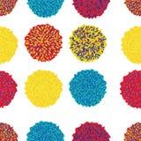 Insieme di vettore di Pom Poms Decorative Elements variopinto Bobble, pom del pom nel colore pastello, stile di boho illustrazione vettoriale