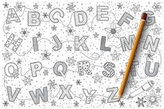 Insieme di vettore di scarabocchio di alfabeto Immagini Stock Libere da Diritti