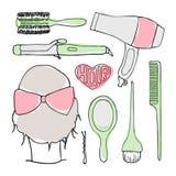 Insieme di vettore di scarabocchio degli strumenti di lavoro di parrucchiere royalty illustrazione gratis