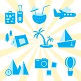 Insieme di vettore di viaggio, di ricreazione e di vacanza illustrazione vettoriale