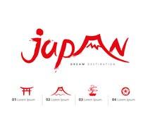 Insieme di viaggio del Giappone, montagna di Fuji, Tokyo Immagine Stock Libera da Diritti