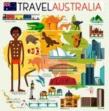 Insieme di viaggio dell'Australia Fotografia Stock Libera da Diritti