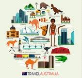 Insieme di viaggio dell'Australia Fotografia Stock
