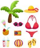 Insieme di viaggio della spiaggia di estate illustrazione vettoriale