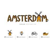 Insieme di viaggio di Amsterdam, Paesi Bassi, mulino a vento Immagine Stock Libera da Diritti