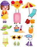 Insieme di viaggio di estate royalty illustrazione gratis
