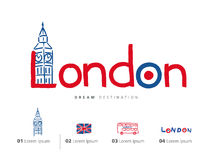 Insieme di viaggio di Londra, Inghilterra, Big Ben, bus Immagine Stock