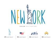 Insieme di viaggio di New York, statua della libertà Fotografia Stock
