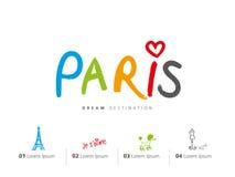Insieme di viaggio di Parigi, Francia, torre Eiffel Immagini Stock Libere da Diritti