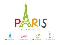 Insieme di viaggio di Parigi, Francia, torre Eiffel Fotografia Stock Libera da Diritti
