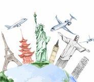Insieme di viaggio intorno al mondo dell'acquerello Fotografia Stock