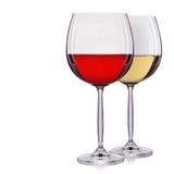 Insieme di vino rosso e bianco in un vetro su fondo bianco Immagini Stock Libere da Diritti
