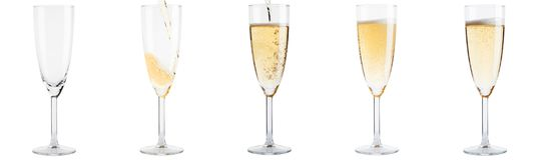 Insieme di vuoto ai vetri pieni del champagne Fotografie Stock