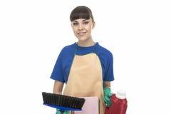 Insieme di Woman With Cleaning della casalinga Immagini Stock Libere da Diritti