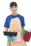 Insieme di Woman With Cleaning della casalinga Immagine Stock