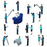 Insieme di Work Isometric Icons del giornalista Fotografie Stock Libere da Diritti