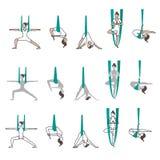 Insieme di yoga delle icone con le pose dell'amaca Fotografia Stock