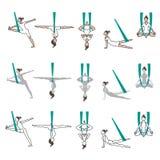Insieme di yoga delle icone con le pose dell'amaca Fotografie Stock Libere da Diritti