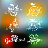Insieme differente di progettazione delle etichette del menu Fotografia Stock