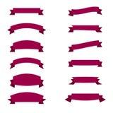 Insieme dimensioni di forme dei nastri e dei nastri di immagini di vettore di varie Fotografie Stock