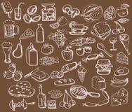 Insieme disegnato a mano: cucina - alimento Fotografie Stock