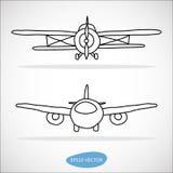 Insieme disegnato a mano degli aeroplani Fotografie Stock