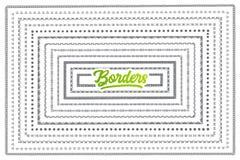 Insieme disegnato a mano dei confini con iscrizione verde Immagini Stock Libere da Diritti