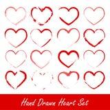 Insieme disegnato a mano del cuore Fotografia Stock Libera da Diritti