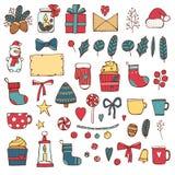 Insieme disegnato a mano del fumetto di scarabocchio di vettore variopinto del nuovo anno ed oggetti e simboli di Natale Venuta d royalty illustrazione gratis