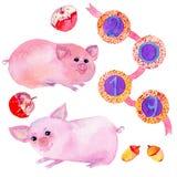 Insieme disegnato a mano dell'acquerello con due personaggi dei cartoni animati svegli del maiale illustrazione di stock