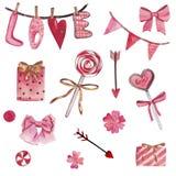 Insieme disegnato a mano dell'acquerello degli elementi isolati su fondo bianco Bei elementi rosa per il San Valentino della st illustrazione di stock