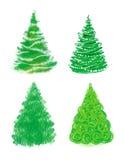 Insieme disegnato a mano dell'albero di Natale Illustrazione di Stock