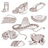 Insieme disegnato a mano dell'alimento messicano royalty illustrazione gratis