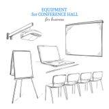 Insieme disegnato a mano dell'attrezzatura di presentazione di affari illustrazione vettoriale