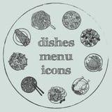 Insieme disegnato a mano dell'icona del menu dei piatti Immagini Stock