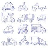Insieme disegnato a mano dell'icona del trasporto Immagini Stock Libere da Diritti