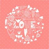 Insieme disegnato a mano dell'icona di scarabocchio di giorno di S. Valentino del san Fotografia Stock