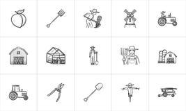 Insieme disegnato a mano dell'icona di schizzo di agricoltura Immagini Stock Libere da Diritti