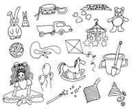 Insieme disegnato a mano dell'illustrazione di vettore dei giocattoli dei bambini su fondo bianco royalty illustrazione gratis