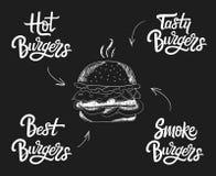 Insieme disegnato a mano dell'iscrizione di logo dell'hamburger di vettore Fotografie Stock Libere da Diritti