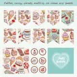 Insieme disegnato a mano della confetteria degli elementi di progettazione dell'album per ritagli illustrazione di stock