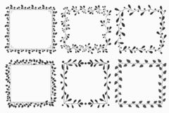 Insieme disegnato a mano della corona e dei telai floreali di vettore illustrazione vettoriale