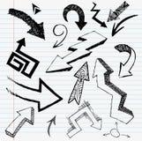 Insieme disegnato a mano della freccia illustrazione di stock