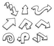 Insieme disegnato a mano della freccia Immagini Stock Libere da Diritti