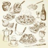 Insieme disegnato a mano della pizza Immagine Stock