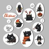 Insieme disegnato a mano della raccolta degli autoadesivi di Natale dell'estratto di vettore con i caratteri divertenti del gatto Fotografia Stock