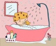Insieme disegnato a mano della ragazza della doccia della presa di scarabocchio illustrazione vettoriale