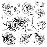 Insieme disegnato a mano della stampa di serigrafia di schizzo dell'inchiostro della spazzola delle onde Immagine Stock Libera da Diritti