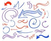 Insieme disegnato a mano delle frecce di vettore illustrazione di stock